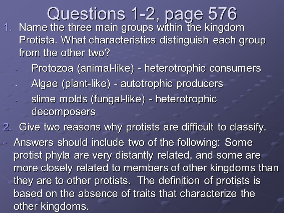 Questions 1-2, page 576 Name the three main groups within the kingdom Protista. What characteristics distinguish each group from the other two