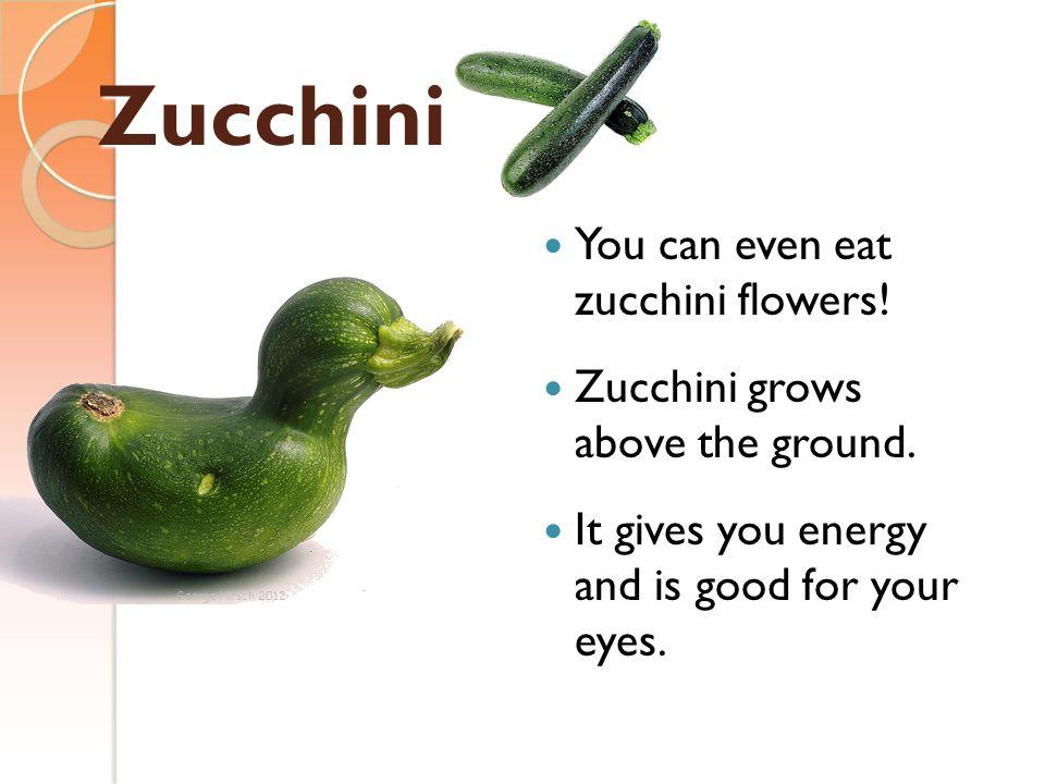 Zucchini You can even eat zucchini flowers!