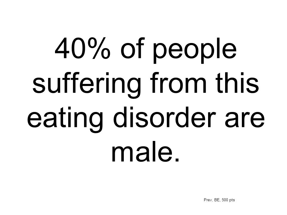 40% of people suffering from this eating disorder are male.