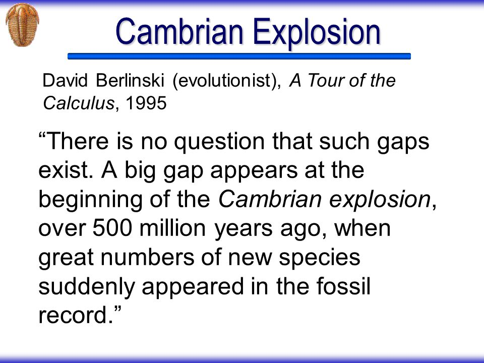 Cambrian Explosion David Berlinski (evolutionist), A Tour of the Calculus, 1995.