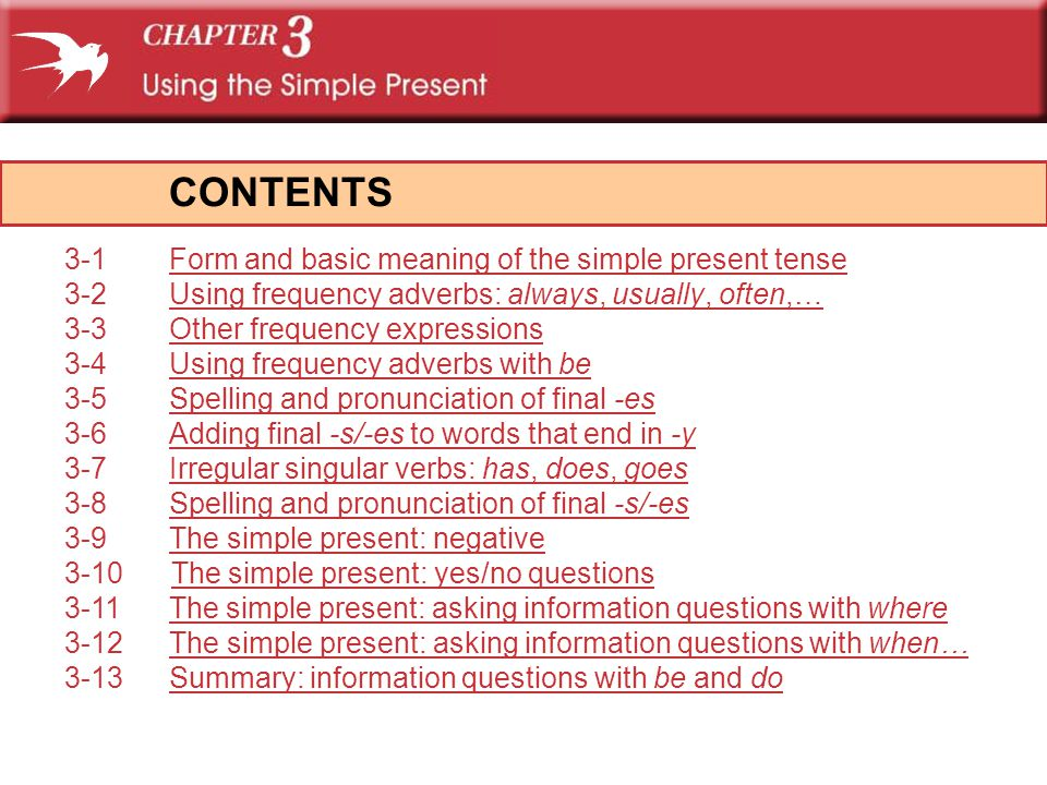 CONTENTS 3-1 Form and basic meaning of the simple present tense