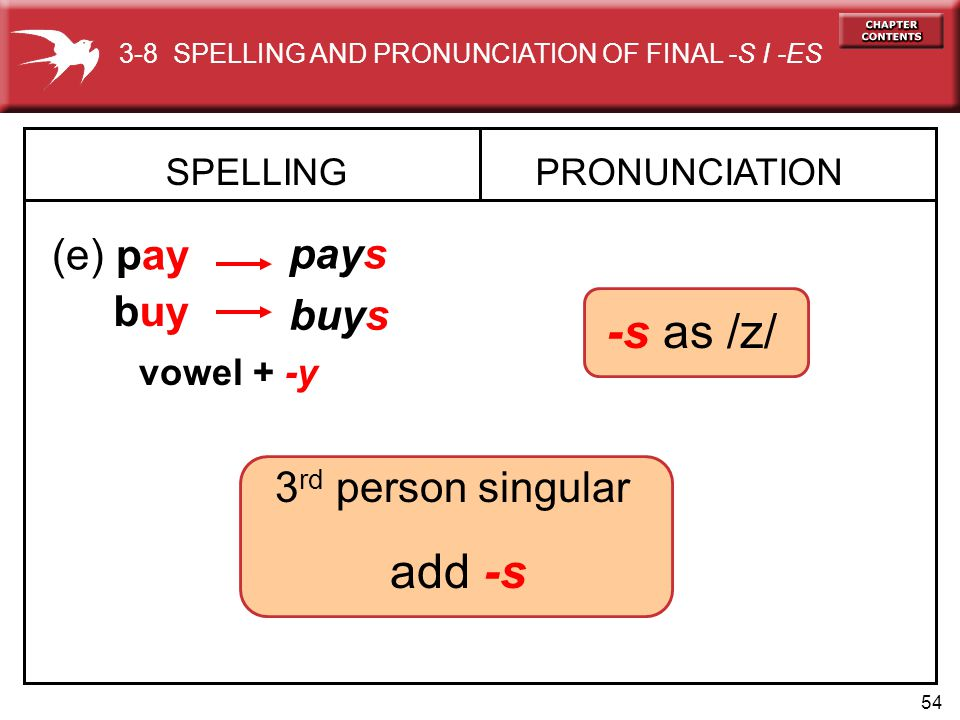 -s as /z/ add -s (e) pay pays buy buys 3rd person singular SPELLING