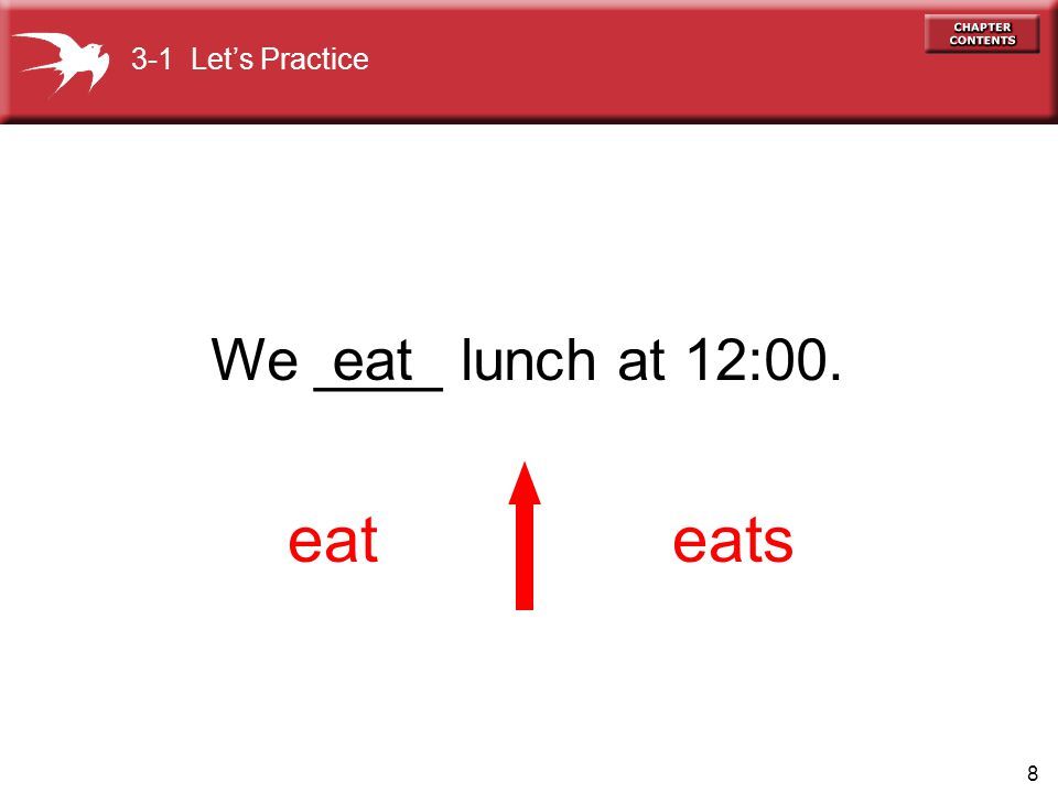 3-1 Let's Practice We ____ lunch at 12:00. eat eat eats
