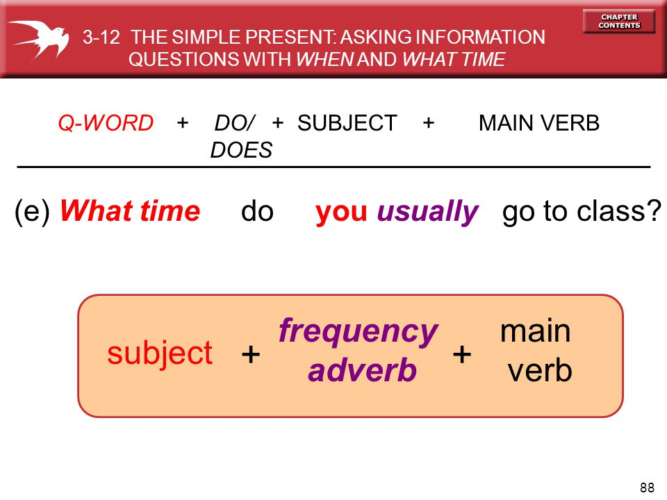+ + frequency adverb main verb subject