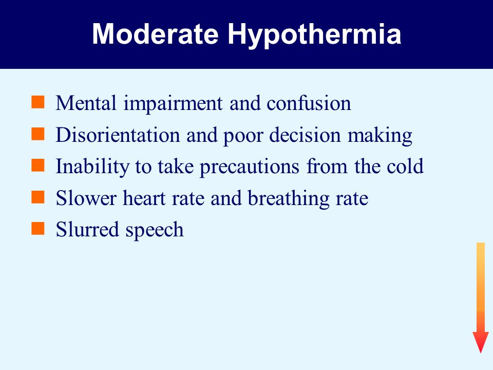 Moderate Hypothermia Mental impairment and confusion