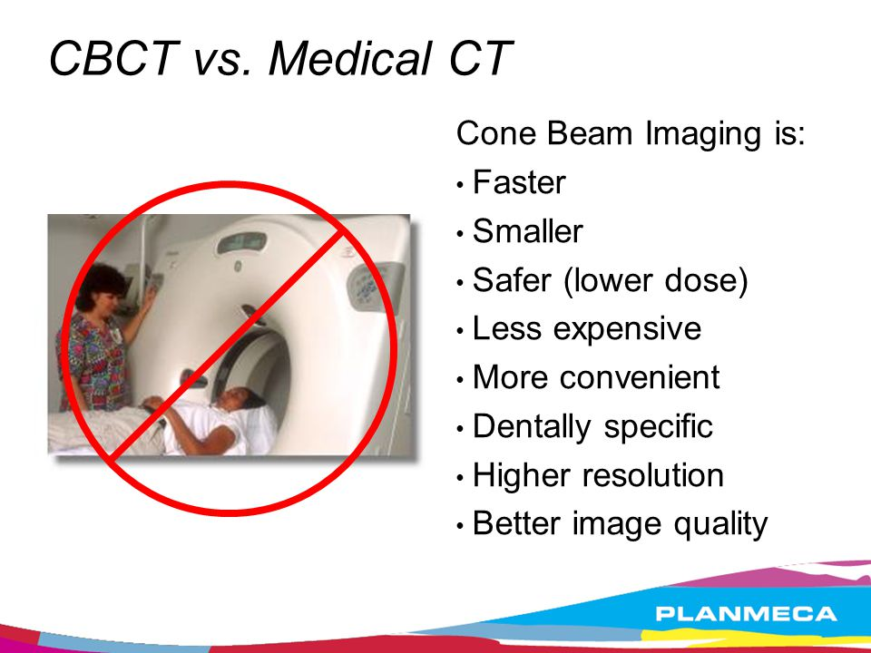 CBCT vs. Medical CT Cone Beam Imaging is: Faster Smaller