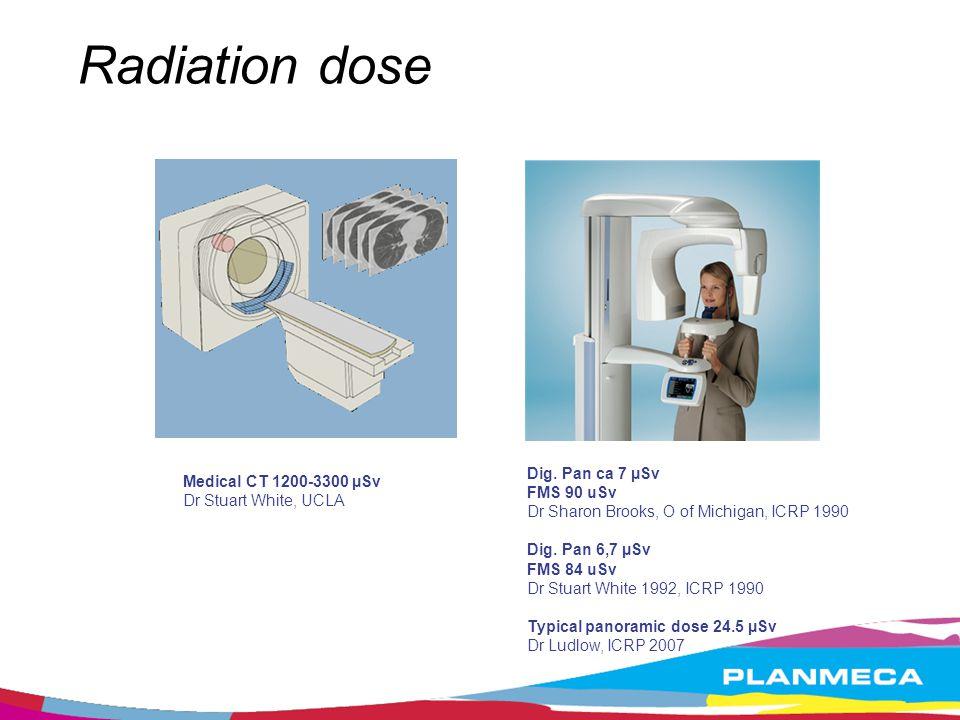 Radiation dose Dig. Pan ca 7 µSv Medical CT 1200-3300 µSv FMS 90 uSv