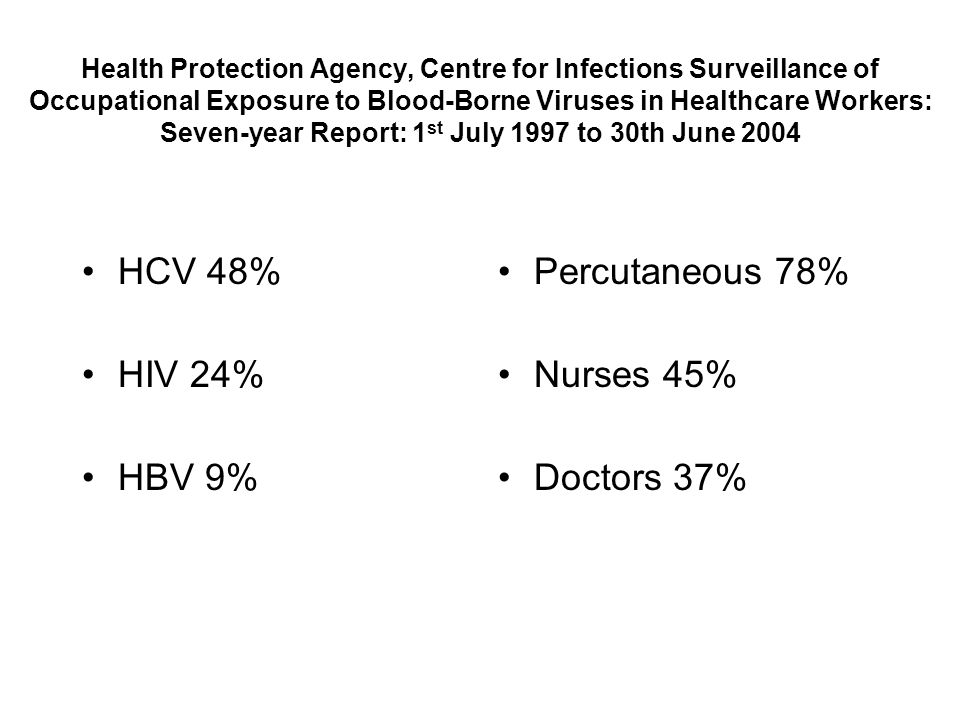 HCV 48% HIV 24% HBV 9% Percutaneous 78% Nurses 45% Doctors 37%