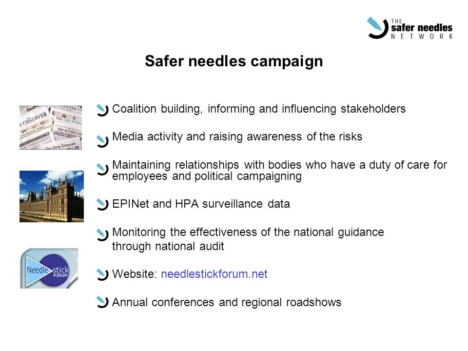 Safer needles campaign