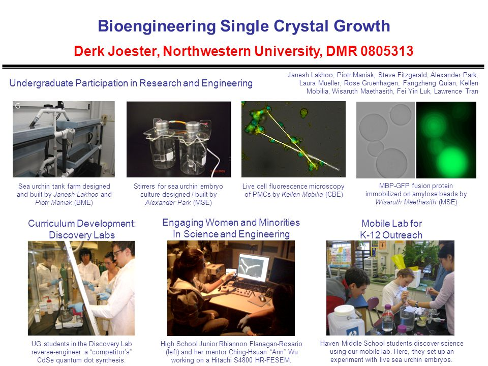 Bioengineering Single Crystal Growth Derk Joester, Northwestern University, DMR 0805313