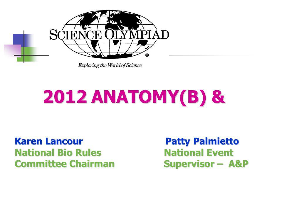 2012 ANATOMY(B) & Karen Lancour Patty Palmietto