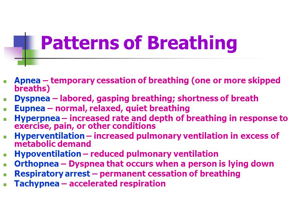 Patterns of Breathing Apnea – temporary cessation of breathing (one or more skipped breaths)