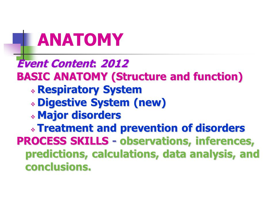 ANATOMY Event Content: 2012 BASIC ANATOMY (Structure and function)