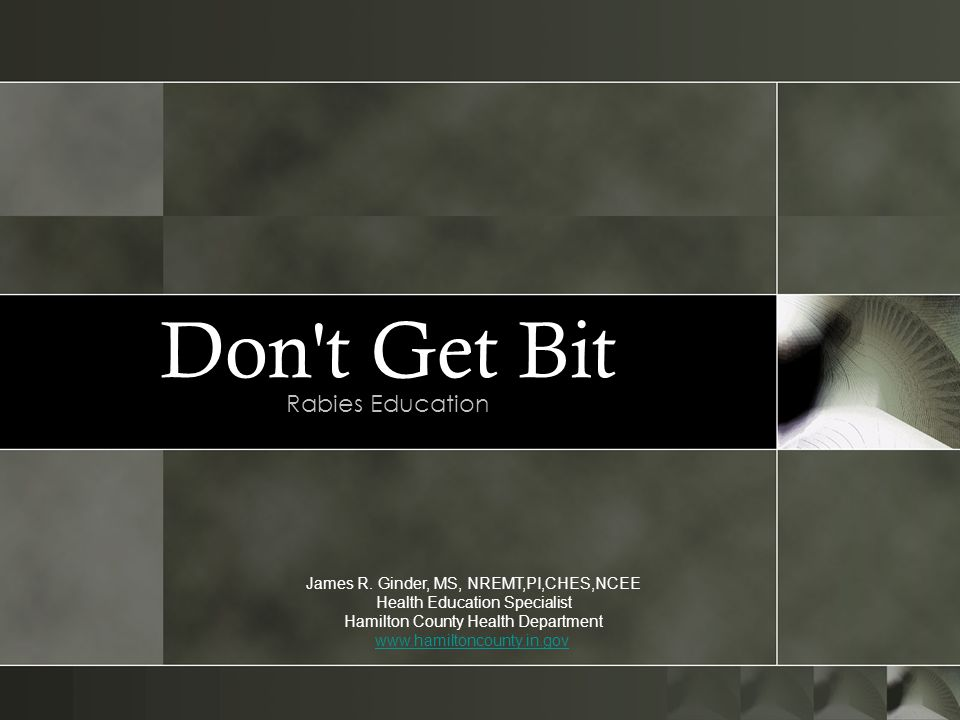 Don t Get Bit Rabies Education James R. Ginder, MS, NREMT,PI,CHES,NCEE