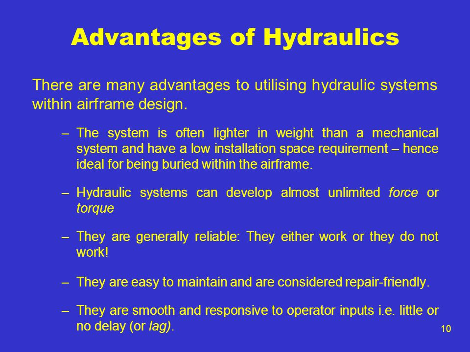 Advantages of Hydraulics