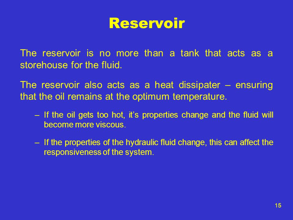 Reservoir The reservoir is no more than a tank that acts as a storehouse for the fluid.