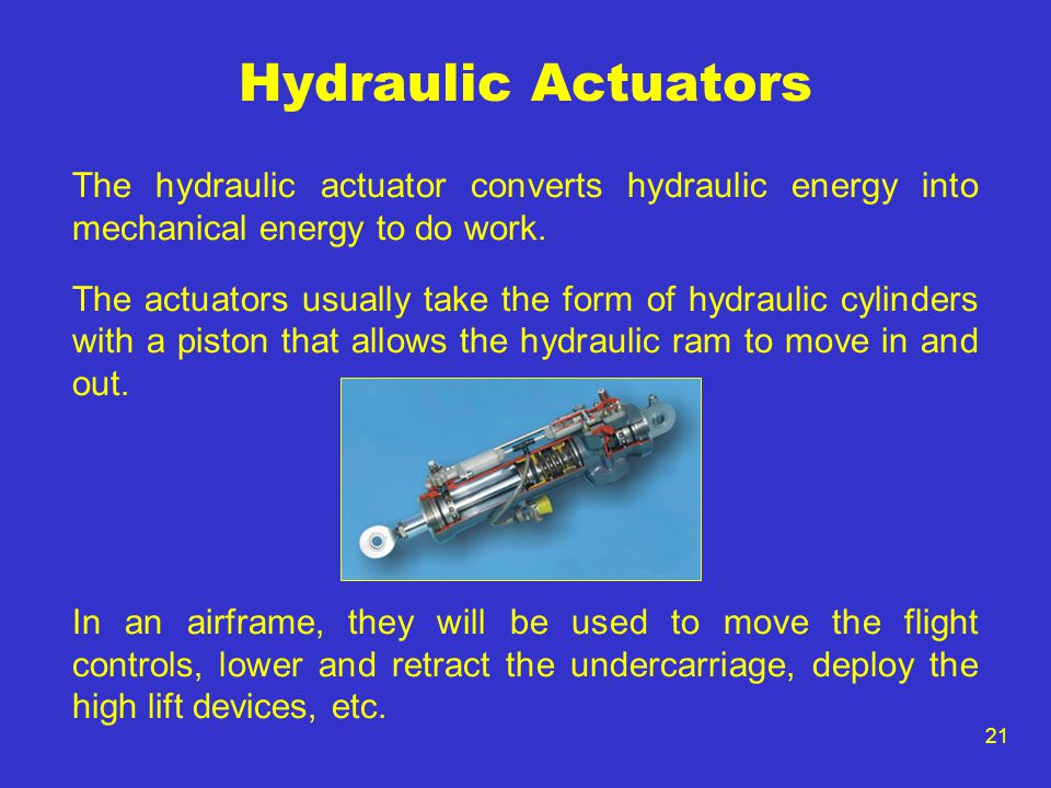 Hydraulic Actuators The hydraulic actuator converts hydraulic energy into mechanical energy to do work.