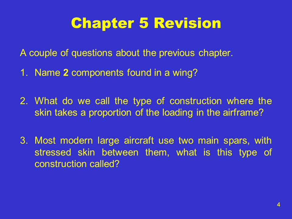 Chapter 5 Revision A couple of questions about the previous chapter.