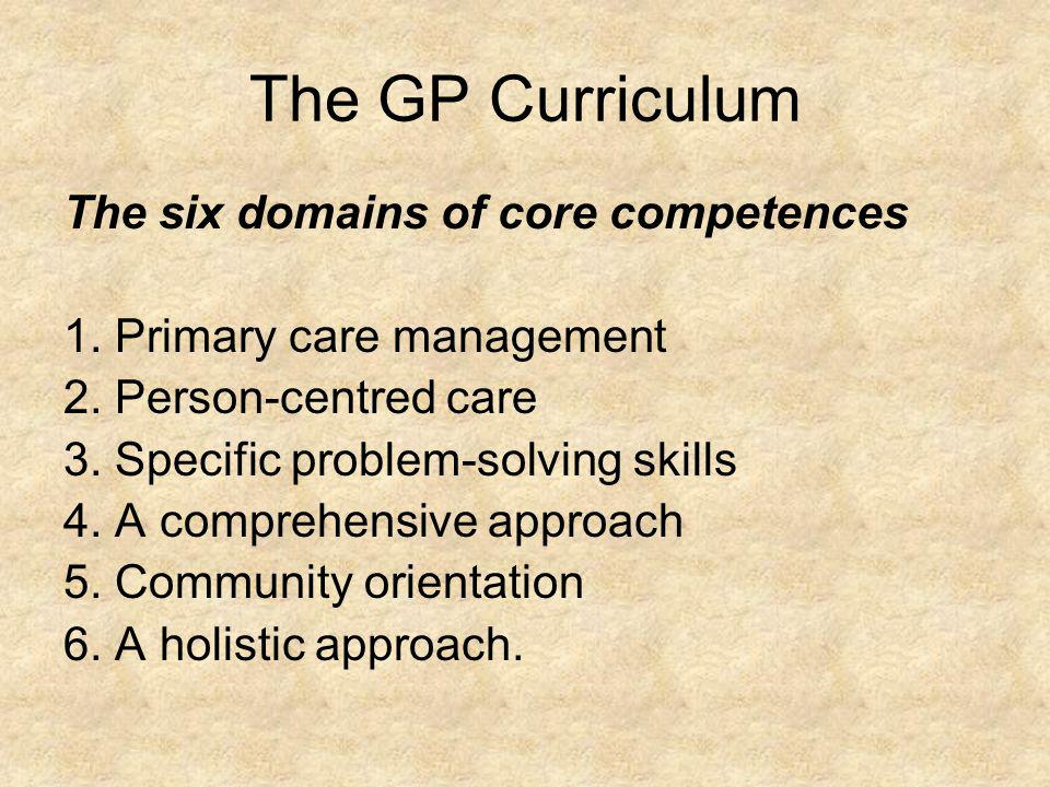 The GP Curriculum The six domains of core competences