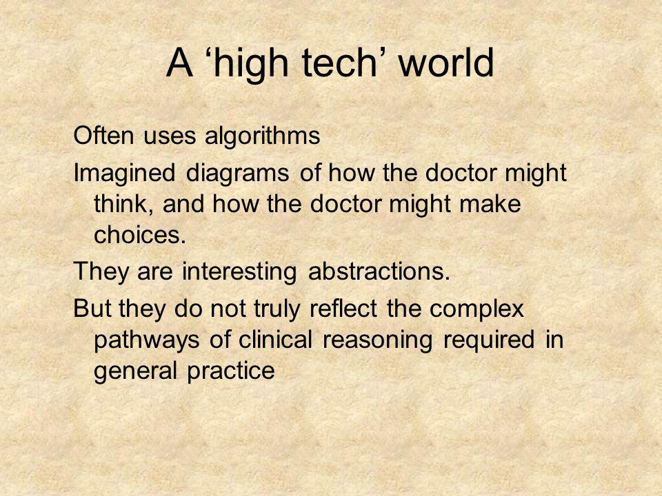 A 'high tech' world Often uses algorithms