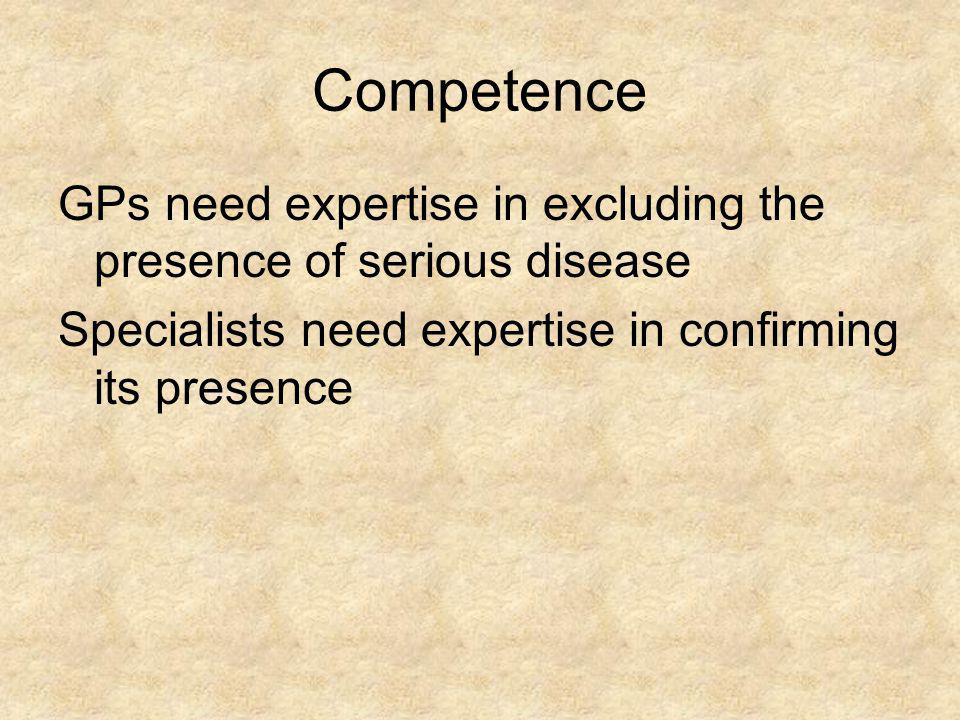 Competence GPs need expertise in excluding the presence of serious disease.