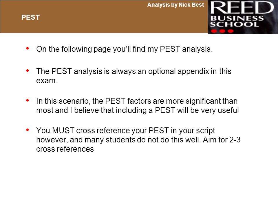 On the following page you'll find my PEST analysis.