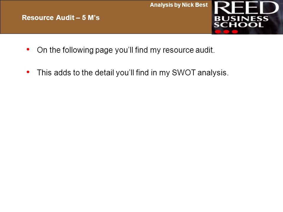 On the following page you'll find my resource audit.
