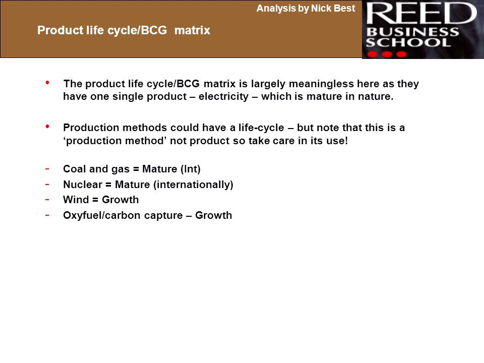 Product life cycle/BCG matrix