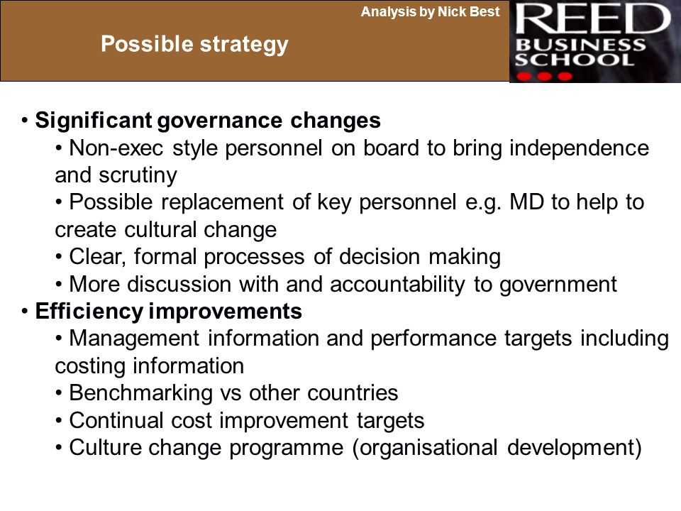 Possible strategy Significant governance changes. Non-exec style personnel on board to bring independence.