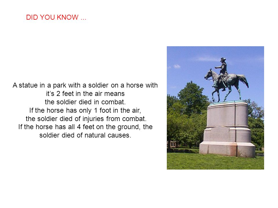 the soldier died in combat. If the horse has only 1 foot in the air,