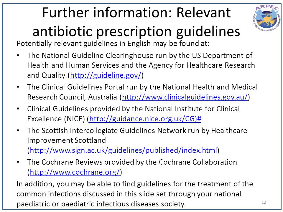 Further information: Relevant antibiotic prescription guidelines