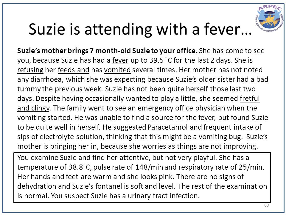 Suzie is attending with a fever…