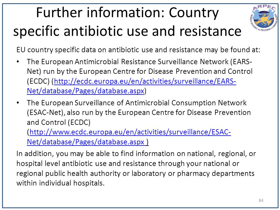 Further information: Country specific antibiotic use and resistance