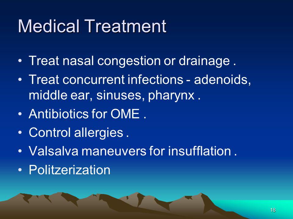 Medical Treatment Treat nasal congestion or drainage.