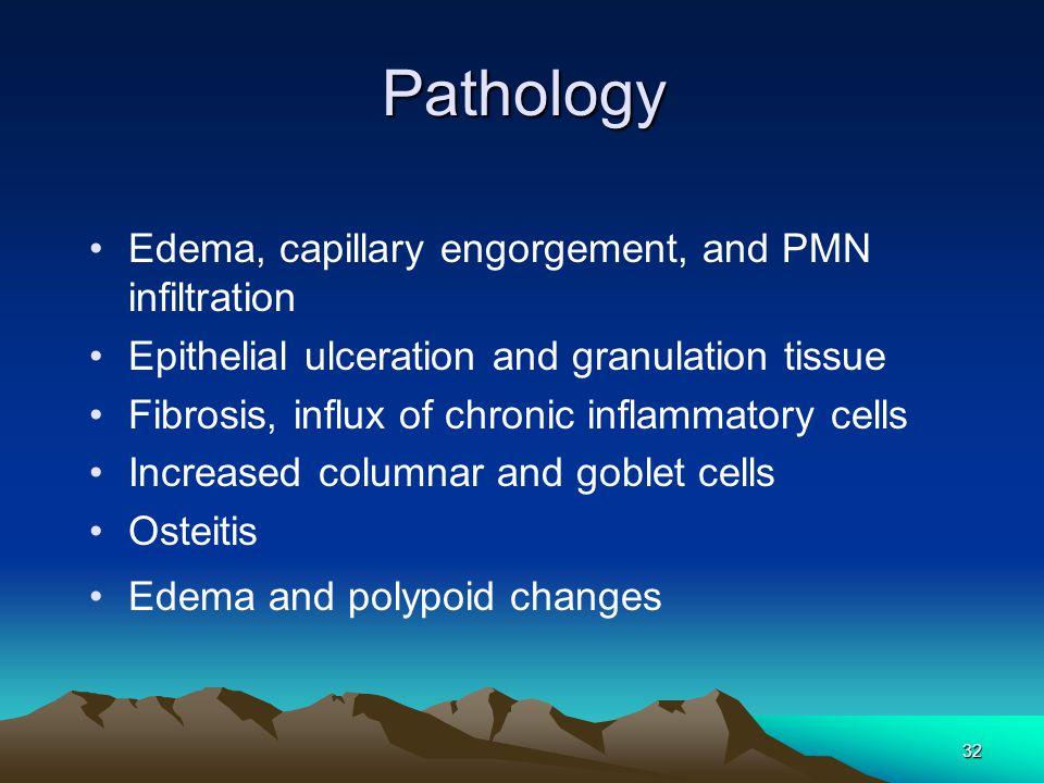 Pathology Edema, capillary engorgement, and PMN infiltration