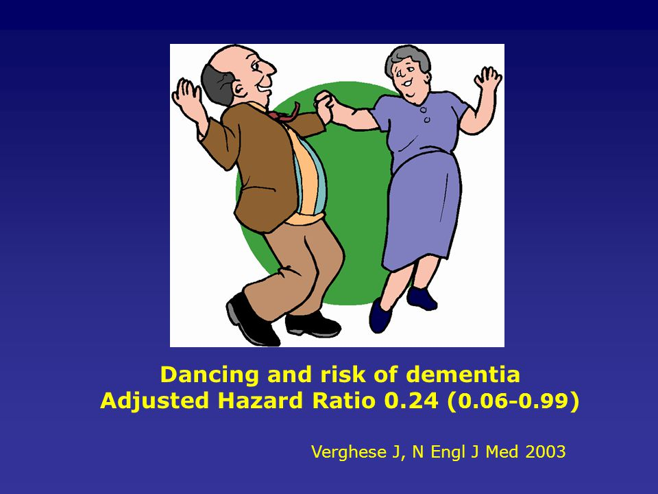 Dancing and risk of dementia Adjusted Hazard Ratio 0.24 (0.06-0.99)