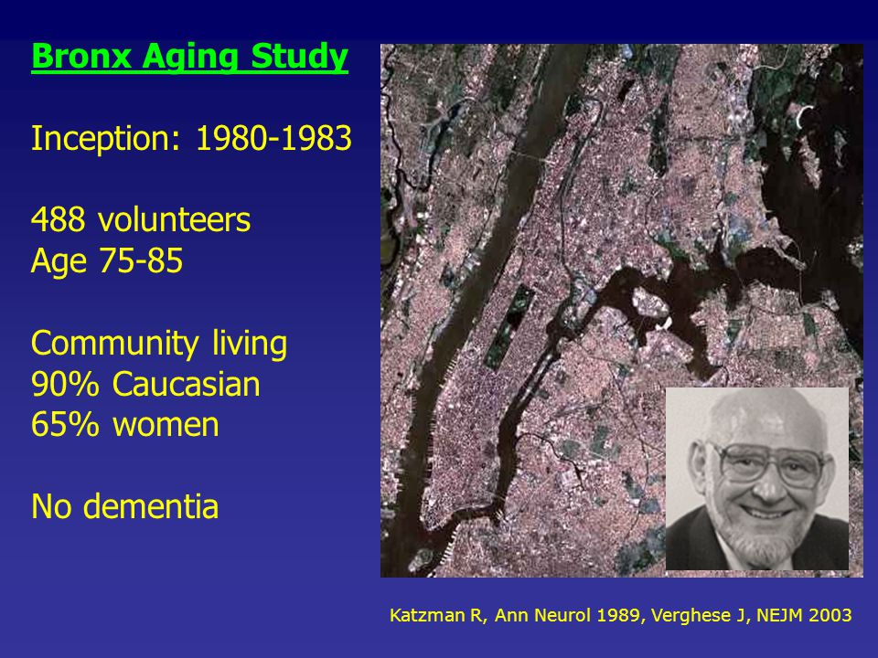 Bronx Aging Study Inception: 1980-1983 488 volunteers Age 75-85