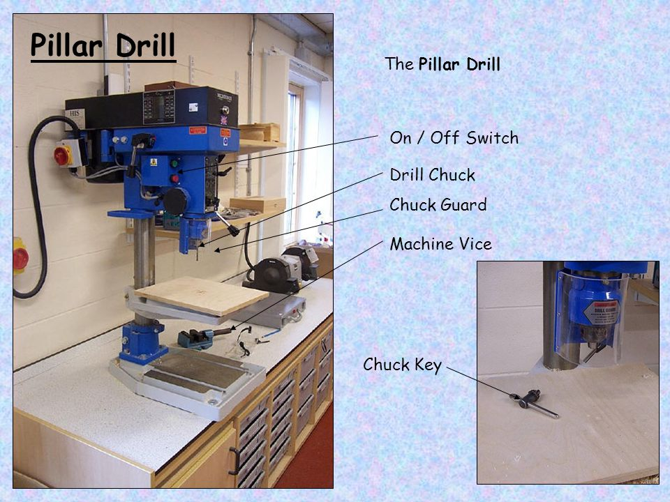 Pillar Drill The Pillar Drill On / Off Switch Drill Chuck Chuck Guard