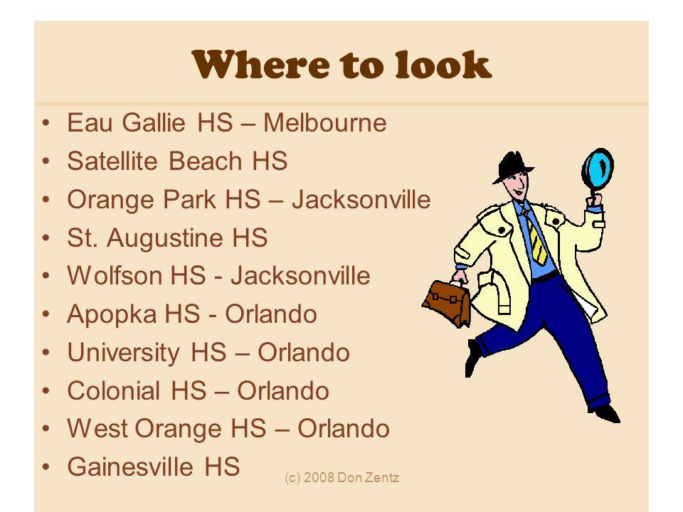 Where to look Eau Gallie HS – Melbourne Satellite Beach HS