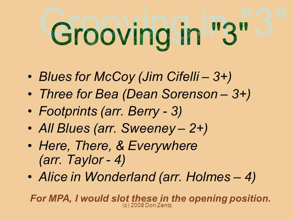 Grooving in 3 Blues for McCoy (Jim Cifelli – 3+)