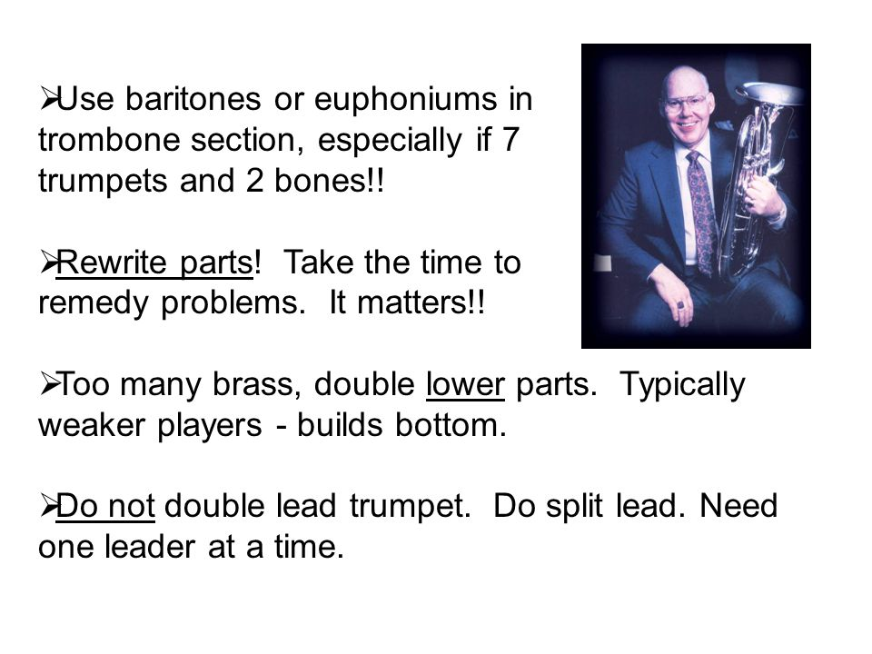 Use baritones or euphoniums in