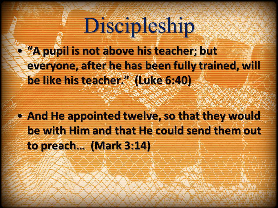 Discipleship A pupil is not above his teacher; but everyone, after he has been fully trained, will be like his teacher. (Luke 6:40)