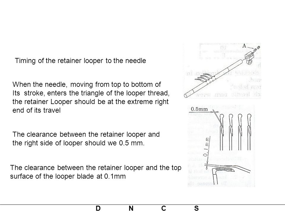 Timing of the retainer looper to the needle