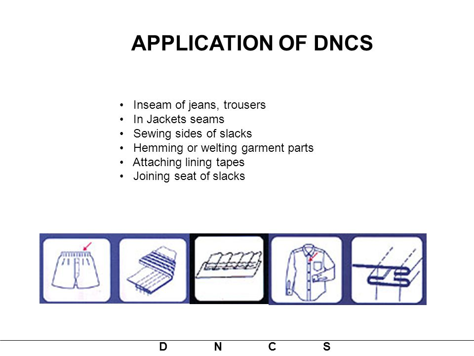 APPLICATION OF DNCS Inseam of jeans, trousers In Jackets seams