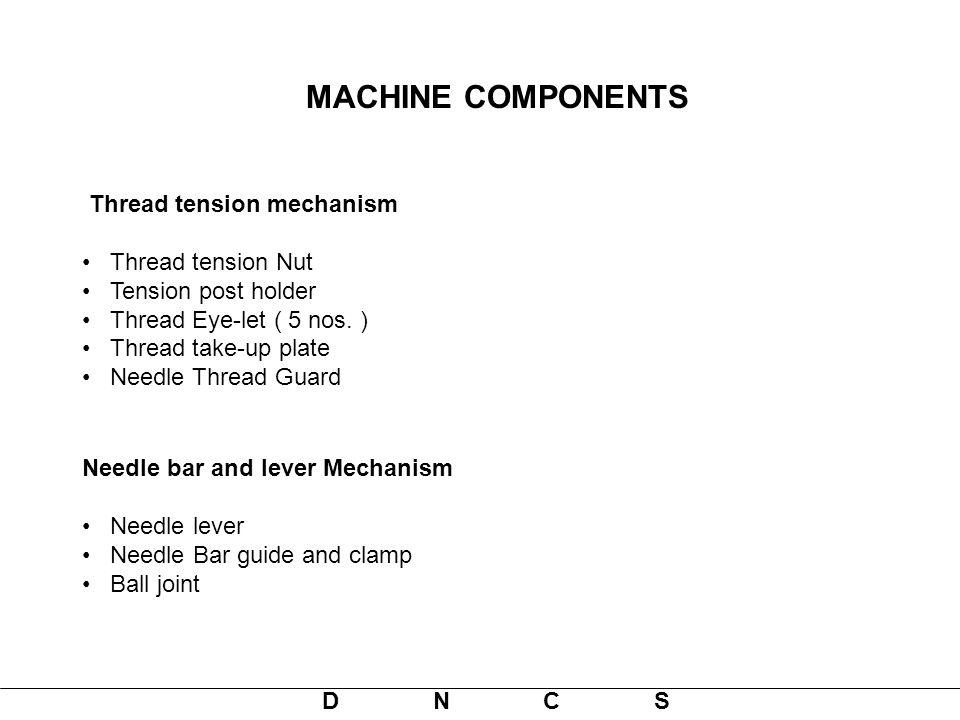 MACHINE COMPONENTS Thread tension mechanism Thread tension Nut