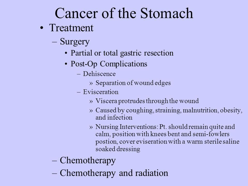 Cancer of the Stomach Treatment Surgery Chemotherapy