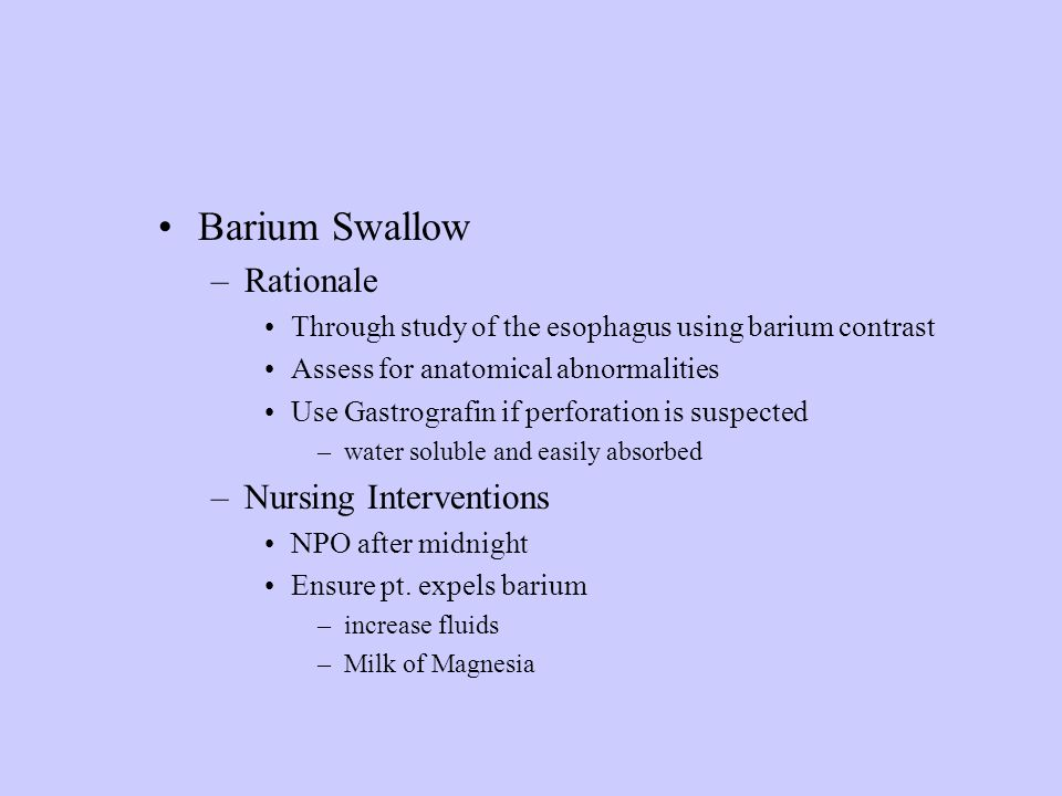 Barium Swallow Rationale Nursing Interventions
