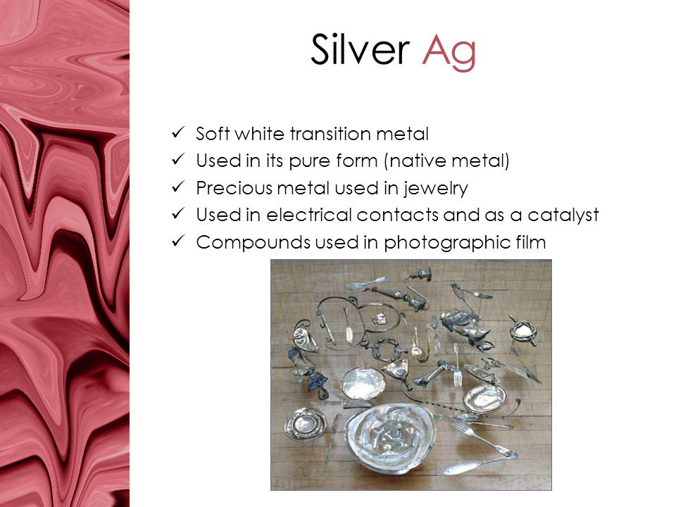 Silver Ag Soft white transition metal