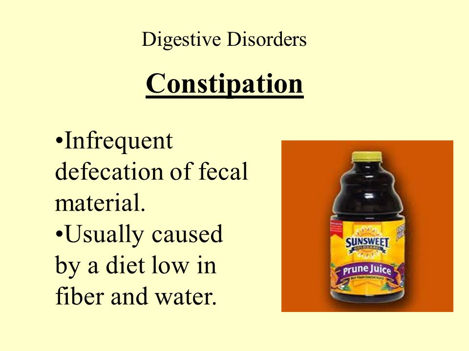 Constipation Infrequent defecation of fecal material.