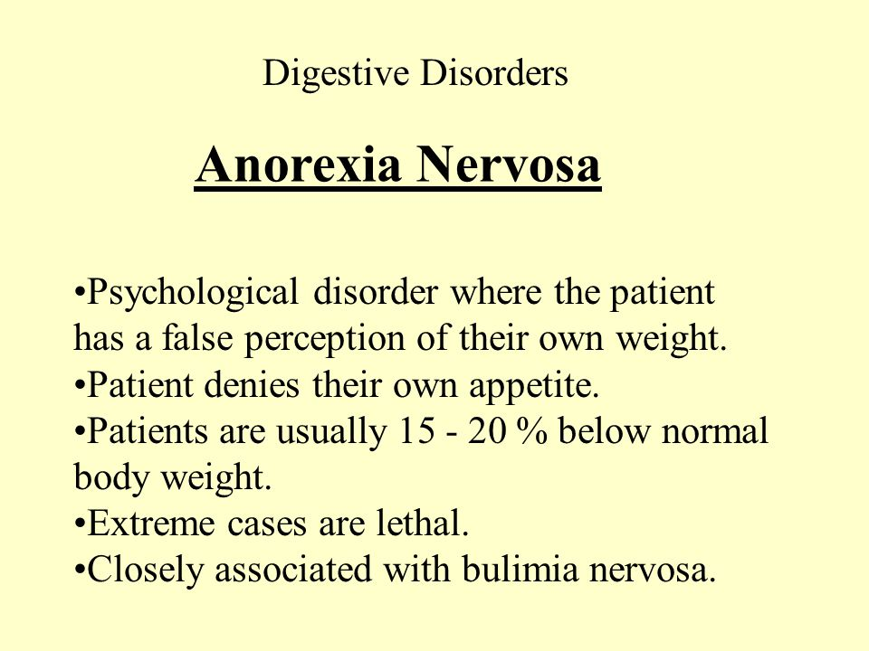 Anorexia Nervosa Digestive Disorders